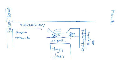 A map Ms Johnstone drew of where she was waiting for a taxi and where the Telstra vehicle was.