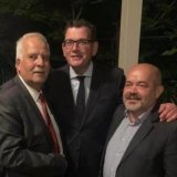 Labor councillor Milad El-Halabi (right) with Nazih Elasmar, president of the Legislative Council, (left) and Premier Daniel Andrews in an undated photo.