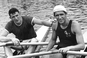 Sam Mackenzie (left) with his arch rival and lifelong friend, triple Olympic champion Vyacheslav Ivanov (circa. 1960)