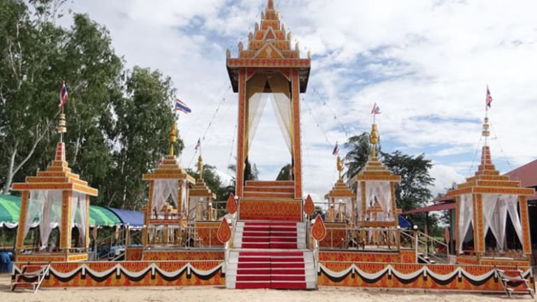 The crematorium erected for the funeral of Saman Gunan.