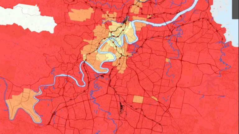 Brisbane is a car-dominated city for journeys to work, with the red area on the map denoting car travel.