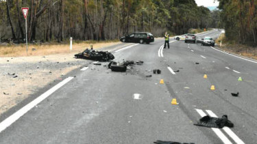 The scene of the crash that killed Detective Senior Sergeant Victor Kostiuk.