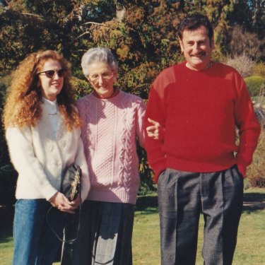 Lisa with parents Margaret and Kerry Spender in Canberra, 1994.
