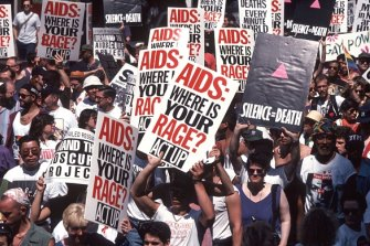 Act Up demonstration protesting the AIDS epidemic, New York, 1994.