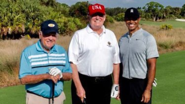 US President Donald Trump golfed with Tiger Woods and Jack Nicklaus on Saturday.