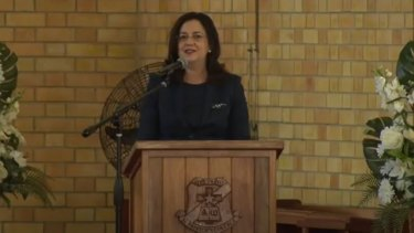 Queensland Premier Annastacia Palaszczuk speaks at the state funeral of former Labor deputy Tim Mulherin in Mackay on Tuesday.