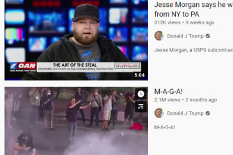 Clips from US President Donald Trump's YouTube account which has been suspended.