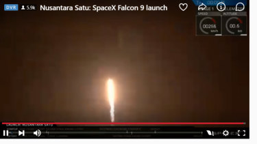 SpaceX launches a Falcon 9 rocket from Cape Canaveral with a lunar lander and a telecommunications satellite.