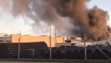 Envirostream's then Campbellfield warehouse on fire on January 19, 2019.