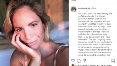 Emily Seebohm shared her efforts to deal with an eating disorder in an Instagram post on January 1.