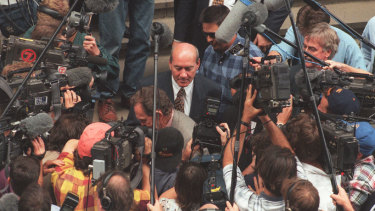 John Quayle  leaving the Supreme court after the Super League decision in 1996.