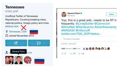 Former national security adviser to Donald Trump Michael Flynn shared a tweet from an account now known to be a bot, which claimed to be connected to the Tennessee Republication party.