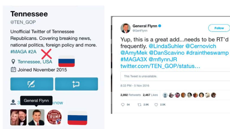 Former national security adviser to Donald Trump Michael Flynn Trump shared a tweet from an account now known to a bot, which claimed to be connected to the Tennessee Republication party.
