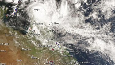 A satellite view of TC Trevor on Tuesday afternoon.