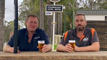 Paul Parker and publican Joel Alvey at the Steampacket Hotel in Nelligen.