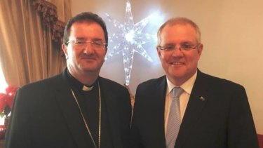 "Bishop Antoine-Charbel Tarabay with Prime Minister Scott Morrison, who described him as ""generous and kind-hearted""."