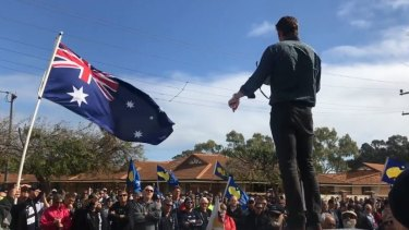 Liberal MP Andrew Hastie addresses striking AWU workers in his electorate of Canning, south of Perth.