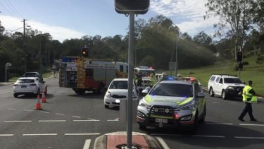 The crash scene at the intersection of Moggill Road and Margaret Court in Kenmore.
