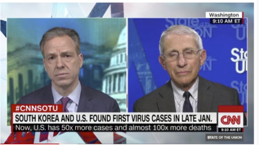 The US' leading infectious diseases expert Anthony Fauci speaking to CNN's Jake Tapper.