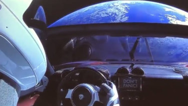 A mannequin in a SpaceX spacesuit in Elon Musk's red Tesla sports car which was launched into space during the first test flight of the Falcon Heavy rocket.