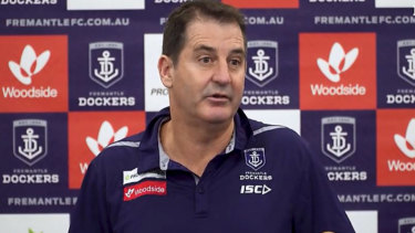 Ross Lyon talks about the Liam Ryan incident at Wednesday's press conference.