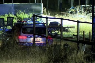 Police have declared a crime scene at a rural Queensland property in Wanora following investigations into slain bikie Shane Bowden. June 22, 2021.