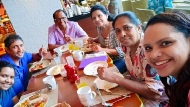 Nisanga Mayadunne, right, and her mother, celebrity TV chefShantha Mayadunne, died when a bomb exploded at the Shangri-La Hotel in Colombo on Easter Sunday. Shortly before the blast, Nisanga posted this family photo to Facebook.