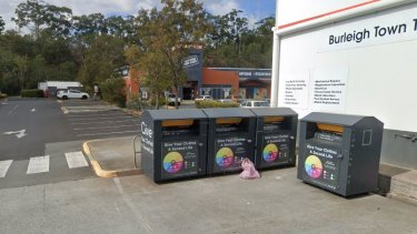 The woman was found in one of these charity bins at Burleigh Heads.