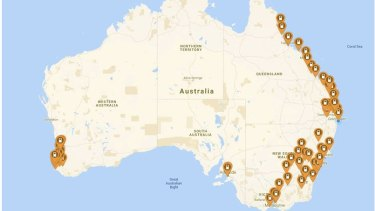 Australia's network of electric car super chargers, according to electric vehicle ap, Plugshare. There also EV stations in the state of Tasmania.