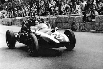 Jack Brabham pictured winning the Monaco Formula One Grand Prix in 1959.