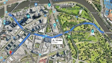 The new cycling route from the Swan Street Bridge along Linlithgow Avenue and Southbank Boulevard.
