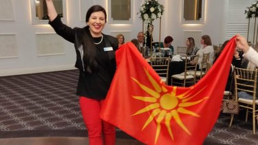 Whittlesea mayor Emilia Lisa Sterjova sparked tensions between the local Greek and Macedonian communities after posting a photo on Facebook showing her holding a flag with the Vergina Sun symbol. She has since removed the post.