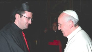 Bishop Tarabay with Pope Francis, who anointed him head of Australia's Maronite Catholic Church in 2013.