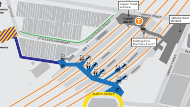 Option three includes an aerial walkway to Wilson Street, and an entrance to the station on Marian Street.