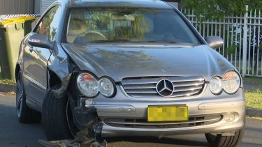One of two vehicles involved in a crash at Lurnea on Monday that left a baby boy fighting for his life.