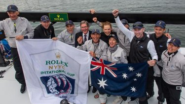 The team from the Royal Sydney Yacht Squadron that won the Rolex New York Yacht Club Invitational Cup at Newport, Rhode Island.