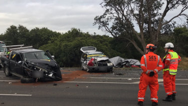 The crash scene at Seaford on December 5, 2019.