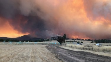 Fires approaching the Briggs' cattle  farm in Cudgewa, near Corryong.