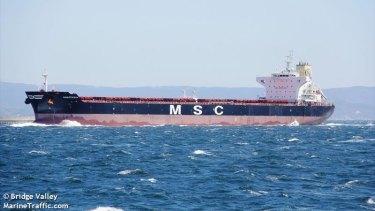 MSC's ship Anastasia is stranded with Australian coal in Bohai Bay.