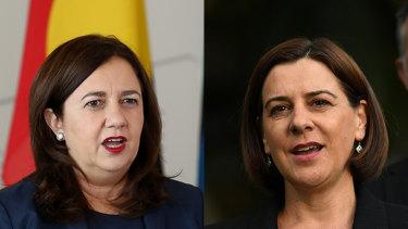Queensland Premier Annastacia Palaszczuk (left) and Opposition Leader Deb Frecklington.
