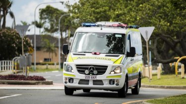 A man in his 20s was extremely lucky to have escaped without worse injuries after falling eight metres, paramedics said.