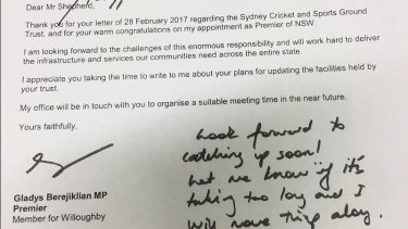 The hand-written note from Premier Gladys Berejiklian to SCG Trust chair Tony Shepherd, included in a NSW Upper House call for papers on Sydney stadiums.