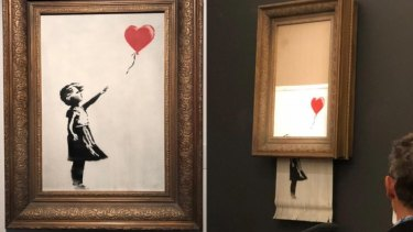 A Banksy artwork destructs shortly after selling at auction for £1 million.