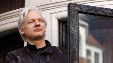WikiLeaks founder Julian Assange at the Ecuadorian embassy in London in 2017.