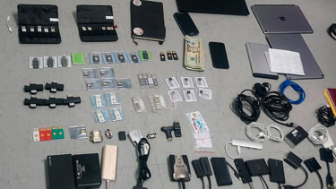 Items confiscated from the Ecuadorian residence of Swedish programmer Ola Bini.