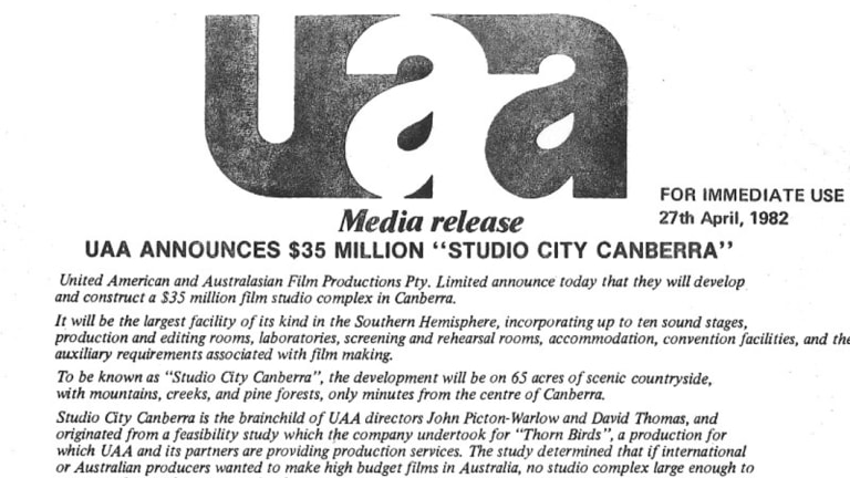 UAA Media Release announcing Studio City Canberra dated 27th April 1982.
