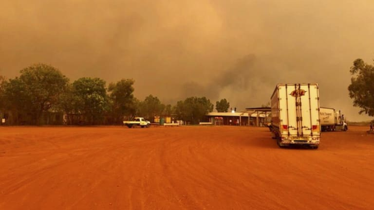 The road between Port Hedland and Broome was closed on Friday as the fire approached Pardoo Roadhouse