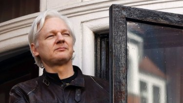 WikiLeaks founder Julian Assange at the Ecuadorian embassy in London in 2017.