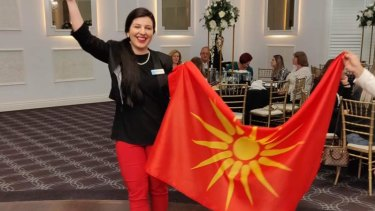 Whittlesea mayor Emilia Lisa Sterjova sparked tensions between the local Greek and Macedonian communities after posting a photo on Facebook showing her holding a flag with the Vergina Sun symbol.