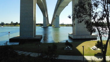 The bridges tower over the park.